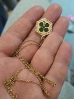 Antik arany tűzzománcos lóhere medál eladó aranylánccal