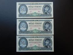 3 darab 20 forint 1975 Sorszámkövető aUNC !