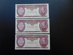 3 darab 100 forint 1992 Sorszámkövető UNC !