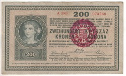 200 korona 1918 magyar pecsétes hullámos hátlap Nagyon ritka