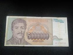 Ropogós Jugoszláv 5000000 Dínár 1993