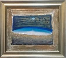 Kékcsillag. 25x30 cm. Károlyfi Zófia Prima díjas alkotótól műtermi áron a boldogság csillaga.