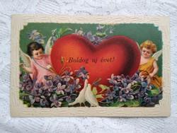 Antik, német, dombornyomott litho/litográfiás képeslap/üdvözlőlap angyalokkal, szívvel 1912-ből