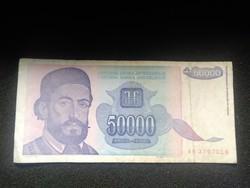 Ropogós Jugoszláv 50000 Dínár 1993