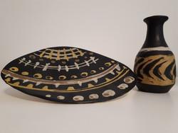 Gorka Lívia falitányér és váza párban (hibátlan)