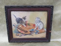 Antik olaj-vászon festmény macskákkal. Pusztái szignó.