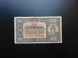 1000 korona 1923 8 fillér Felülbélyegzés ! 04