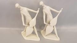 2 db Zsolnay modern csellós figura