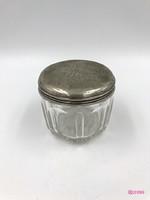 Osztrák biedermeier üveg, ezüstfedeles cukortartó.