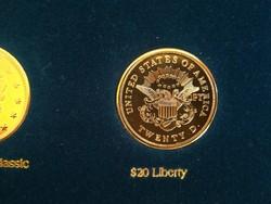 $20 Liberty  - legszebb amerikai érmék, ⌀ 39 mm, aranyozott replika