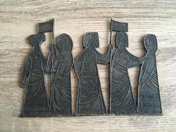 Nő alakos iparművészi bronz fali dísz