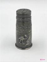 Vintage Duchin Creation ezüst, üveggel bélelt sószóró. 1944 után készült, USA.