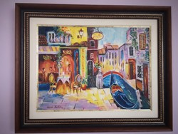 Színes Velence - Hepp Natália hangulatos olajfestménye gyönyörű keretben