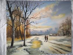 Hazafelé - Sztopka Anna festőművész gyönyörű, hangulatos olajfestménye keret nélkül