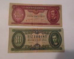 """1949 -es 10 és 100 forint -os """"Rákosi címeres"""""""