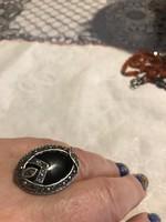 Győnyőrű ezüst gyűrű fekete kővel