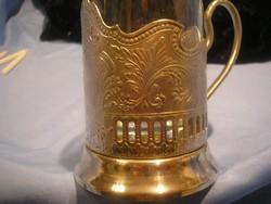 N16 Antik Ezüstözött szamovár pohár ízléses szépen cizellált   tartóban pótlásra eladó 11.5 cm-es
