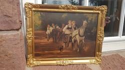Olaj, karton 30x40cm, festmény. Vidám lovas vágta. Életkép, tájkép. Zsuppán