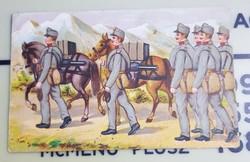 Grafikus lap, katonák, lovak, gépfegyver