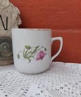 Gyönyörű virágos  cseh Czechslovakia bögre porcelán nosztalgia falusi paraszti dekoráció