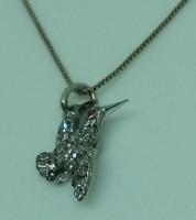 Gyémánt Kolibri fehér aranyba foglalva