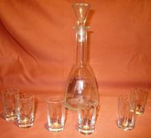 Régi szőlőfürt mintás butella 6 db kis kupicával, likőrös, pálinkás készlet, kínáló, üveg pohár