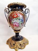 Nagyméretű korabeli antik kézzel festett biedermeier porcelán réz váza