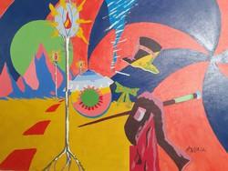 Színpompás avantgard vízió, jelzett olaj-vászon