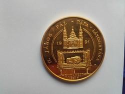 Lebó Ferenc: II. János Pál pápa látogatása   aranyozott tombak érme  1991   PP  átm. 42,5mm