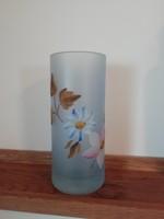 Virágmintás vastag füst üveg pohár