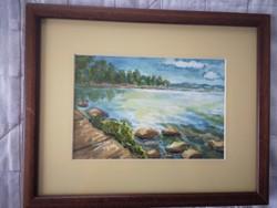 A part - Pintye Anna hangulatos akvarell festménye keretben