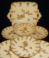 Antik Sarreguemines fajansz  süteményes készlet Louis dekorral.