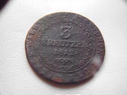 3 krajcár ( kreutzer ) 1812-ből, rézből, I. Lotharingiai Ferenc korából (1792-1835 )