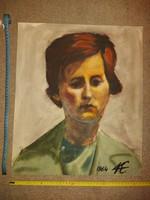 Kovács Ernő: Leány portré, 1964, festmény, guache, méret jelezve, katalogizálva...