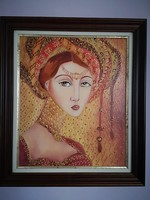 Muslimah - B. Tóth Irisz gyönyörű olajfestménye , nívós keretben