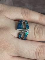 Opál Köves ezüst gyűrű 18mm belső átmérőjű
