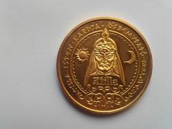Lebó Ferenc:  Attila   aranyozott tombak érme  1993   PP  átm. 42,5mm