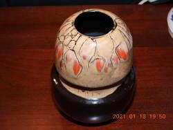 Barna, narancssárga pettyes kerámia  váza, virágtartó