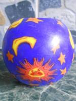 Gyertya gömb nap hold csillag mintával kék 8*8 cm