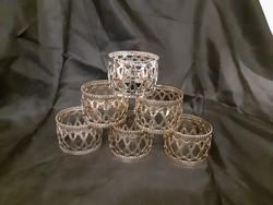 6 db áttört, ezüst bevonatú, ezüstözött szalvétagyűrű, új, egyszer sem használt