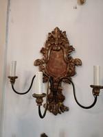 Aranyozott fa falikar pár 3 ágas bronz tartok. 200 éves eredeti.