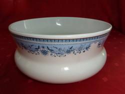 Hollóházi porcelán főzelékes tál, kék mintával, felső átmérője 19 cm.