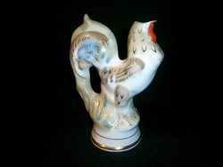 Régi orosz különleges porcelán kakas formájú kiöntő, esetleg váza aranyozott festéssel