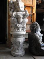 110cm Kő Ganésa + dobogó Indiai Thai Keleti Feng Shui kertépítő szobor Buddha sorozatból
