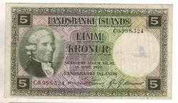 """5 kronur 1928 Izland 3. Sorszám előtt """"C"""""""