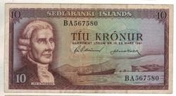 """10 kronur 1961 marz. 29. Izland 6 jegyű sorszám előtt """"BA"""""""