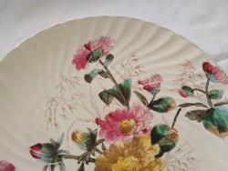Antik Bonn, virágos fajansz tányér az 1800-as évek végéről