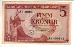 5 kronur 1957 Izland