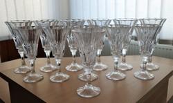 Kettő szett cseh kristály talpas borospohár készlet régi időkből