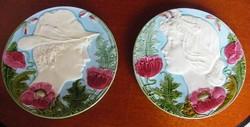 Antik Körmöcbányai majolika tányér, fali dísz pár!